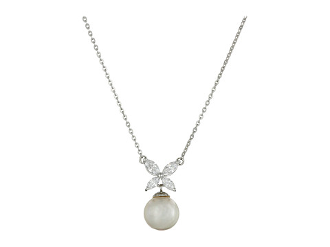 Majorica 8mm Pearl and CZ Pendant Necklace - Silver/White