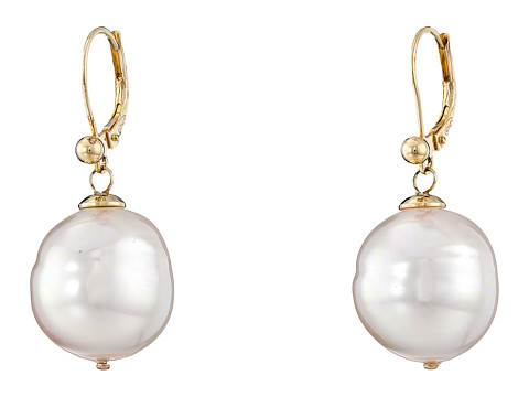 Majorica 16mm Baroque Pearl Eurowire Earrings - Gold/White