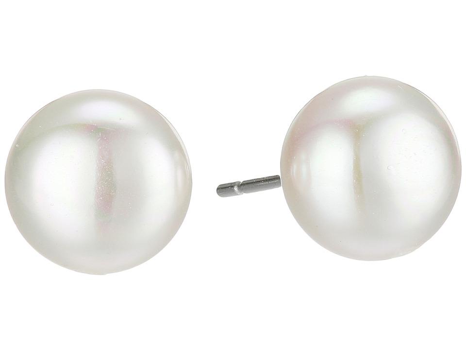 Majorica 10mm Flat Stud Earrings (White) Earring
