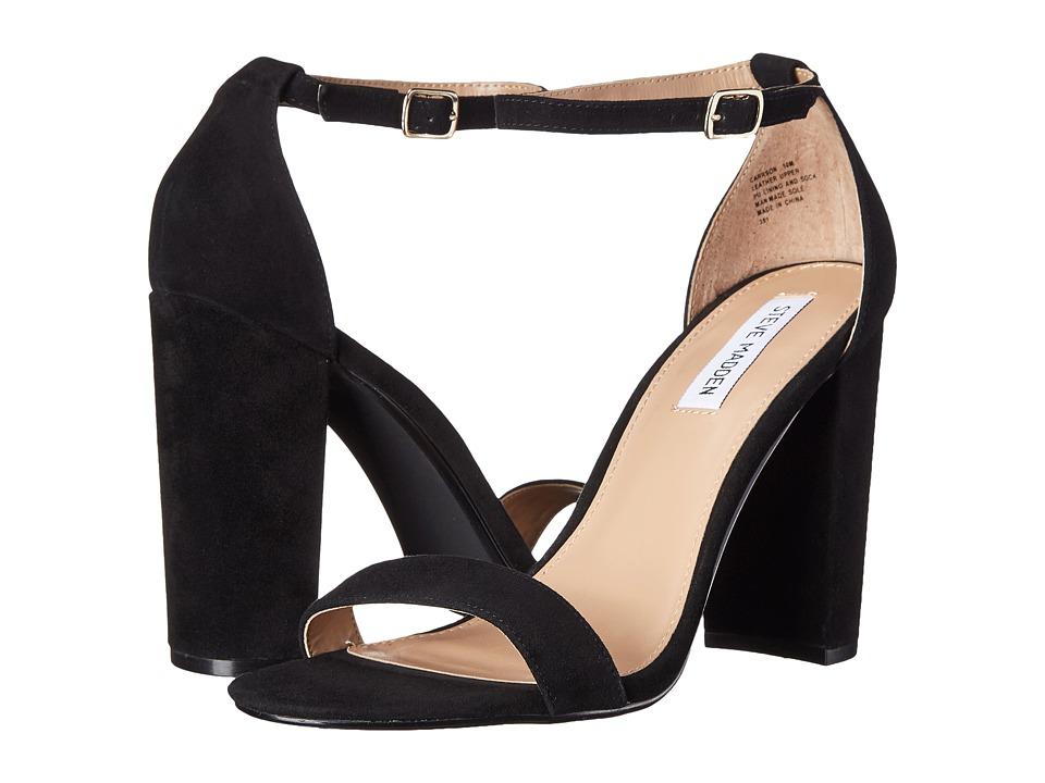 Steve Madden Carrson Heeled Sandal (Black Suede) High Heels