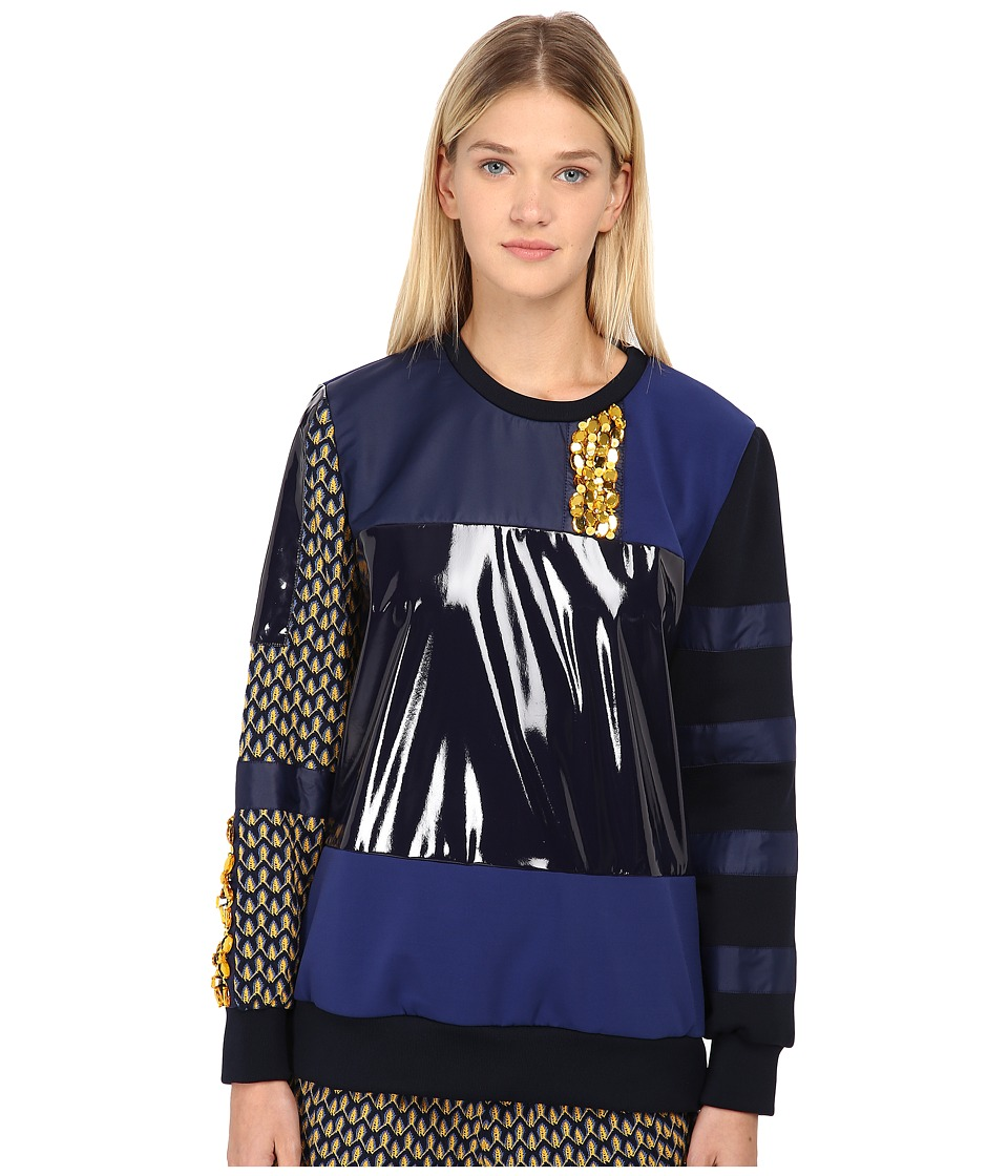 NO KAOI Wela Top with Embroidery Blue/Black Womens Clothing