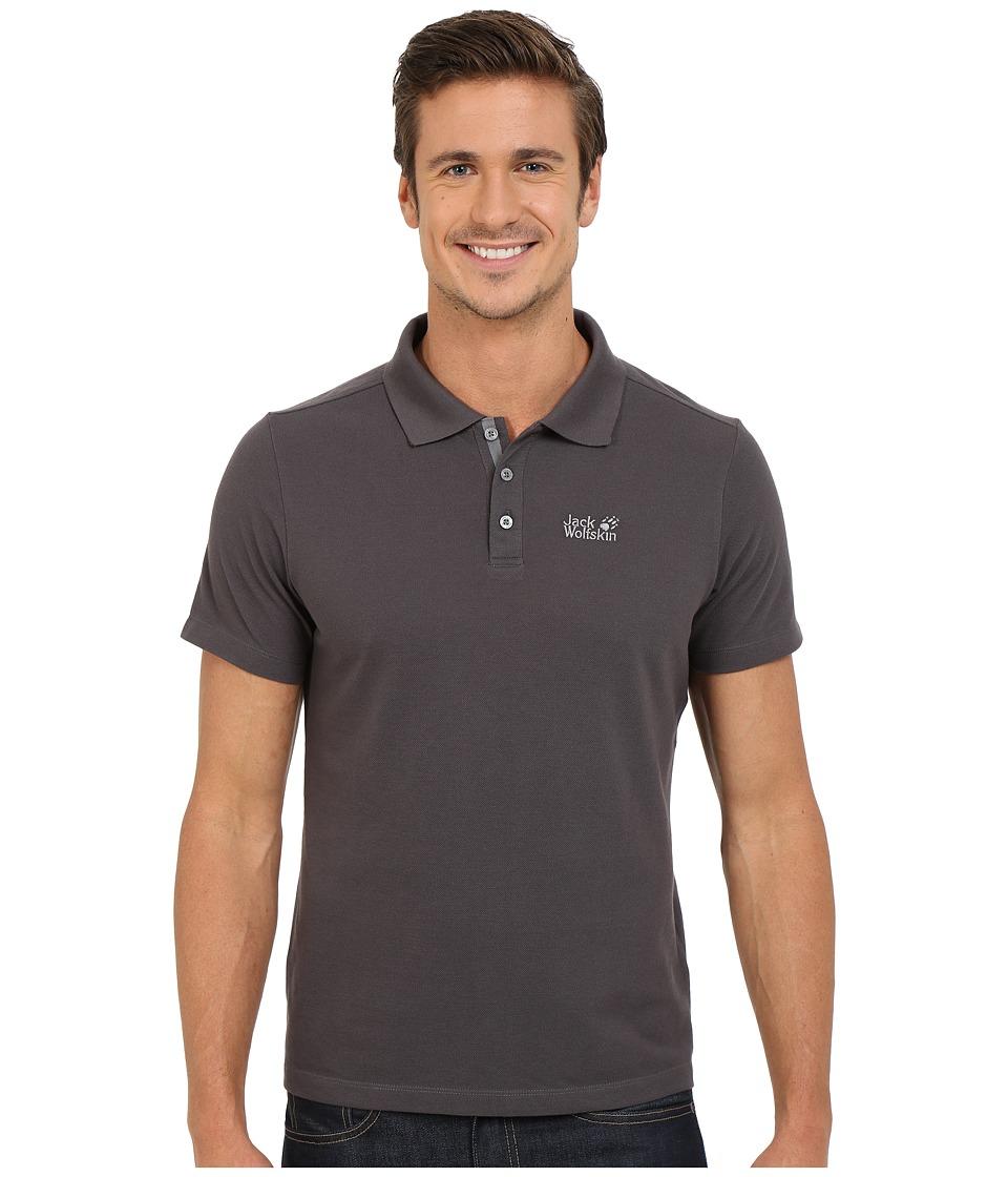 Jack Wolfskin Pique Function 65 Polo Dark Steel Mens Clothing