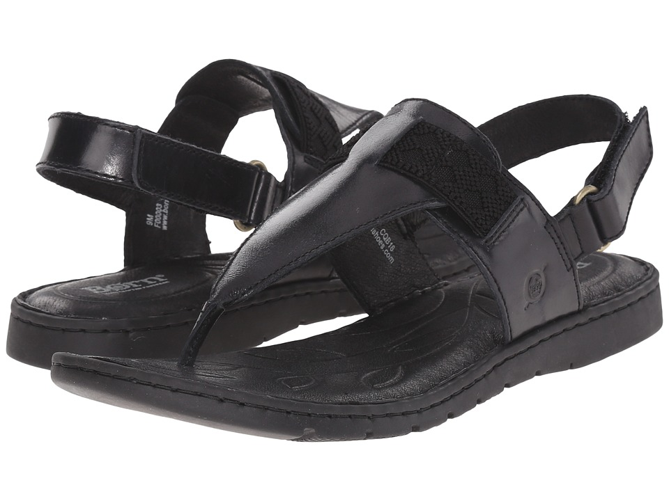 Born Belluno Black Full Grain Leather Womens Sandals