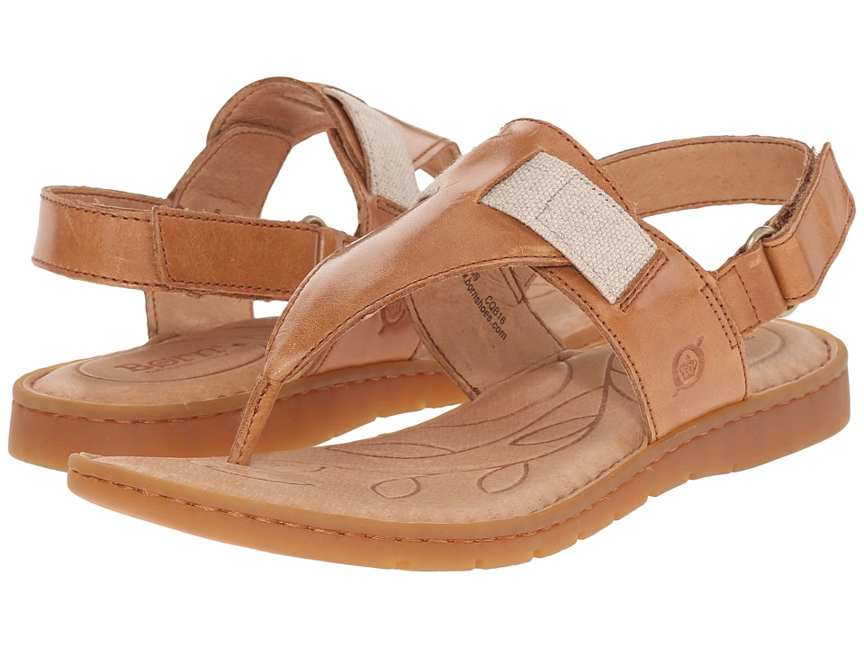 Born Belluno Nut Full Grain Leather Womens Sandals