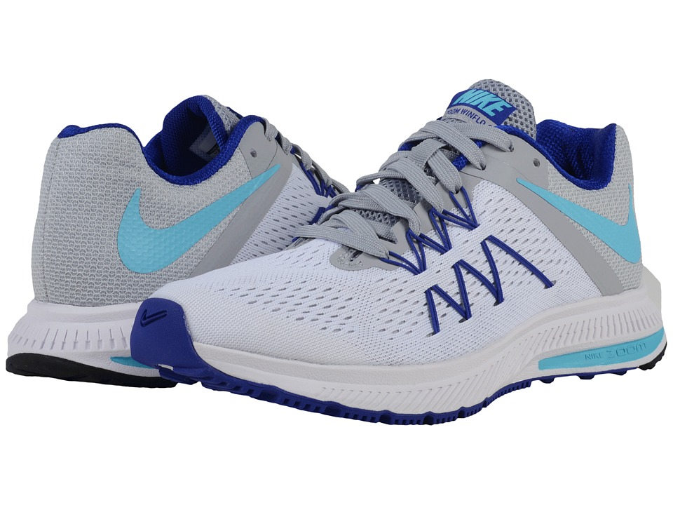 Nike - Zoom Winflo 3 (White/Wolf Grey/Concord/Gamma Blue) Womens Running Shoes