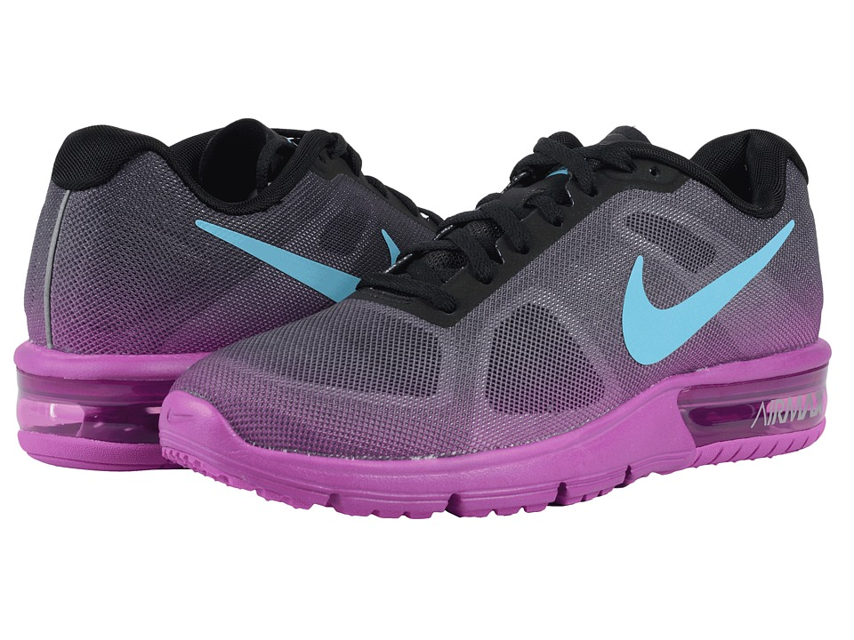 Nike - Air Max Sequent (Black/Hyper Violet/Dark Grey/Gamma Blue) Womens Running Shoes