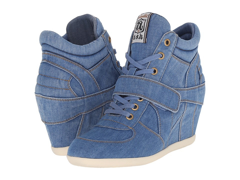 ASH Bowie Blue Stone Washed Denim Womens Lace up Boots