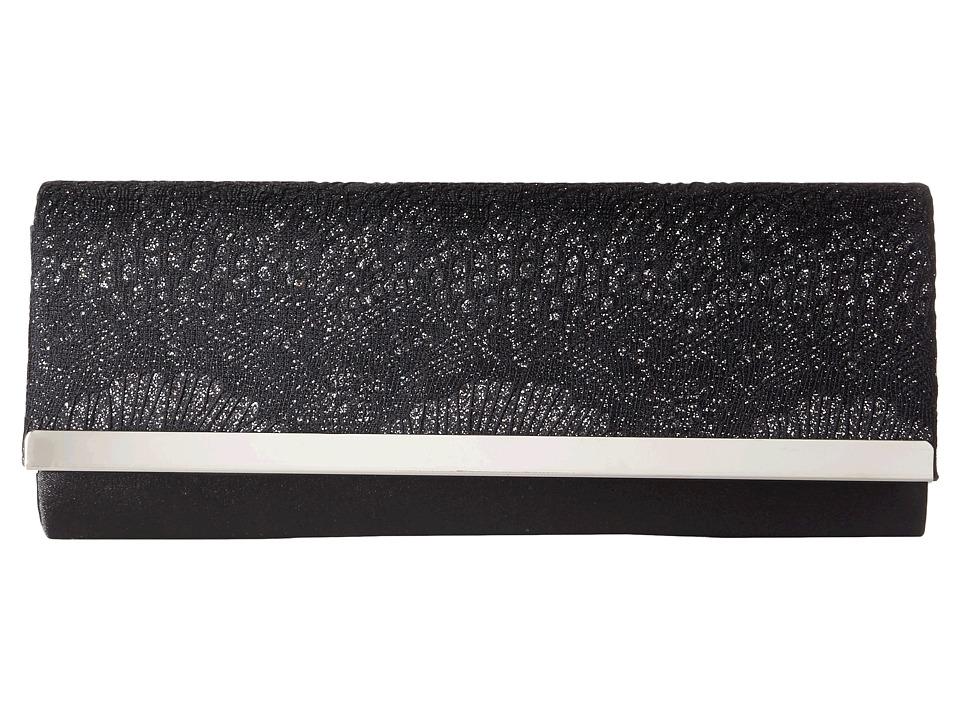 Jessica McClintock Addison Bar Flap Clutch Black/Black Cross Body Handbags
