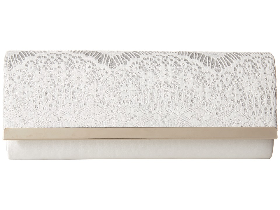 Jessica McClintock Addison Bar Flap Clutch White/Silver Cross Body Handbags