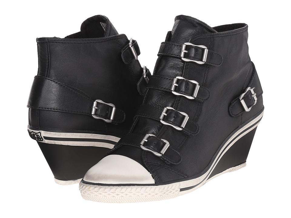 ASH Genial Black Nappa Wax 2 Womens Wedge Shoes