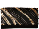 Jessica McClintock Chloe Fold-Over Sequin Clutch (Black)