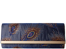 Jessica McClintock Addison Fold-Over Feather Bar Clutch (Blue)