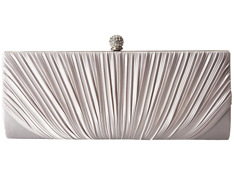 Jessica McClintock - Flora Satin Rouched Framed Clutch (Silver) Clutch Handbags