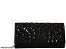 Jessica McClintock Chloe Fold-Over Crystal Clutch (Black)