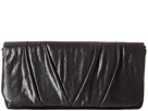Jessica McClintock Sienna Fold-Over Flap Clutch (Black)