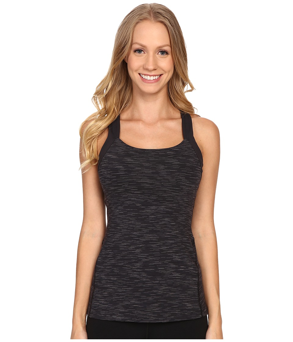 Lucy Fitness Fix Tank Top Lucy Black Spacedye Stripe Womens Sleeveless
