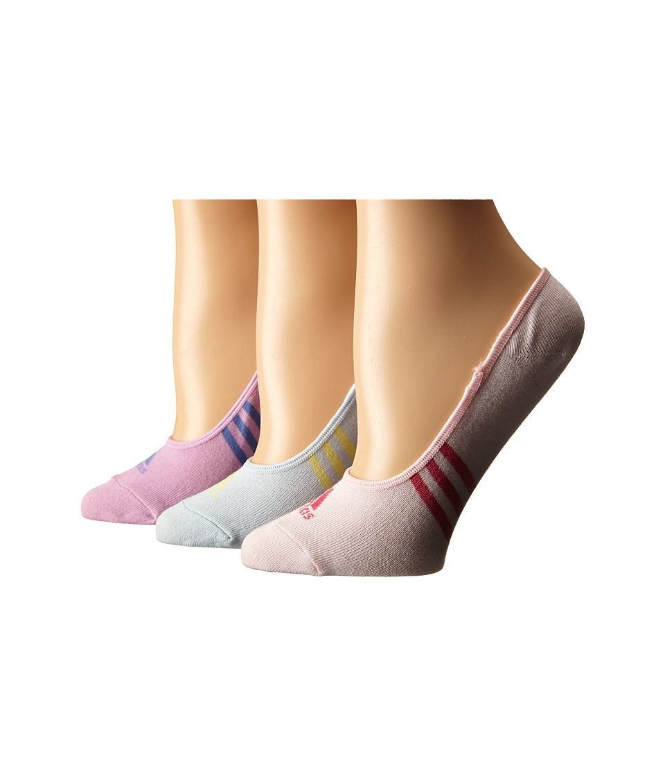 adidas Golf Climacool 3 Stripes No Show 3 Pack Socks Soft Blue/Wild Orchid/Blushing Pink Womens No Show Socks Shoes