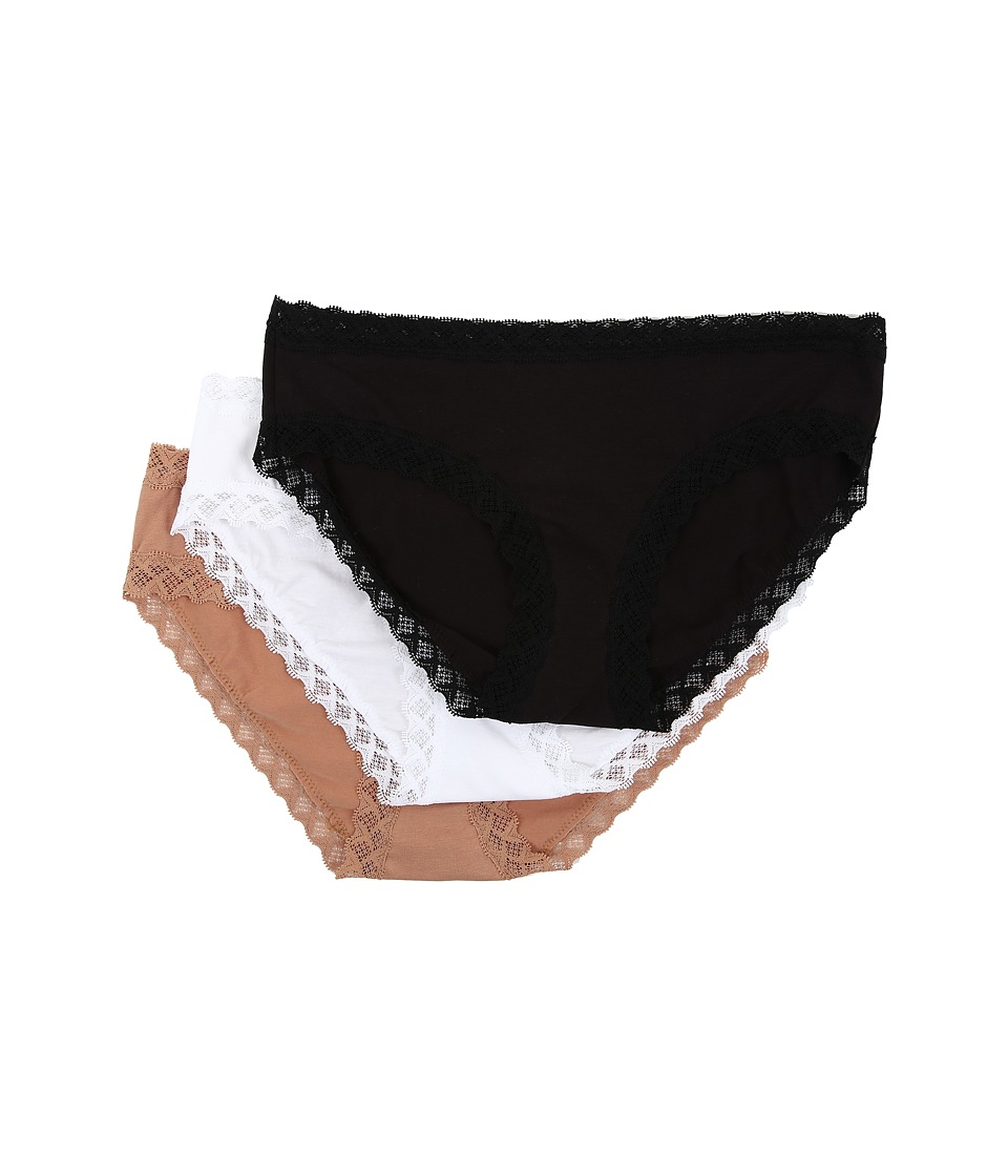 Natori Bliss Cotton Girl Brief 3 Pack Black/White/Caramel Womens Underwear