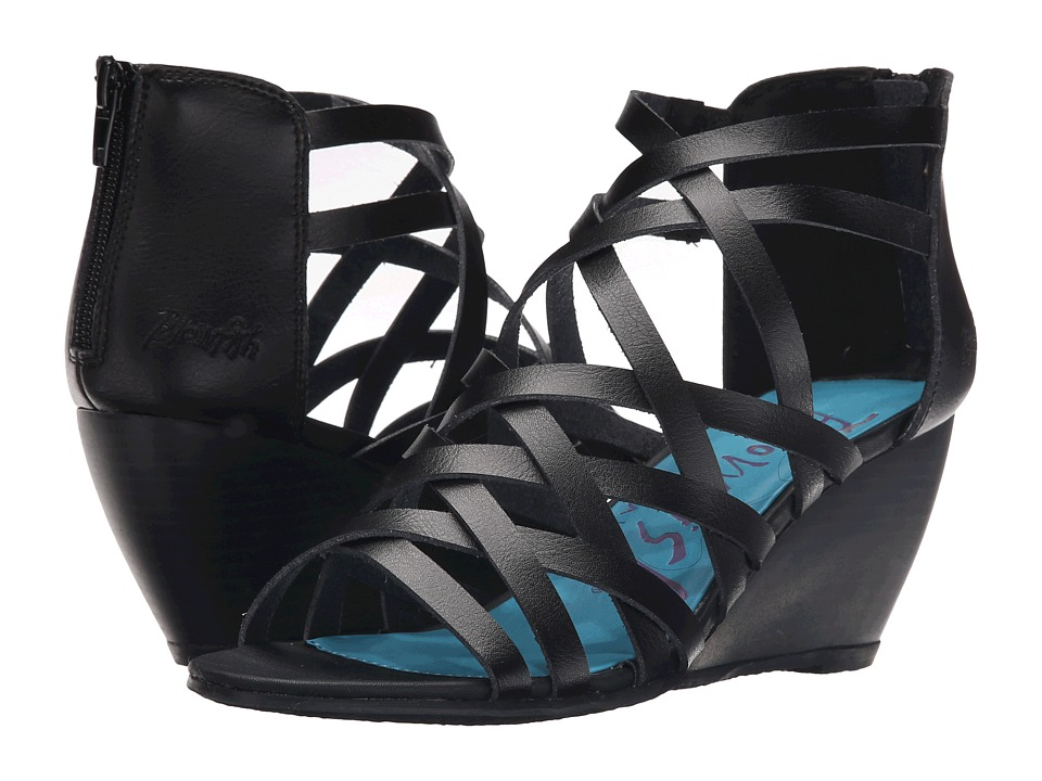 Blowfish Blip Black Dyecut PU Womens Wedge Shoes