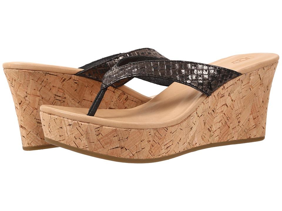 UGG Natassia Metallic Basket Black Leather Womens Wedge Shoes