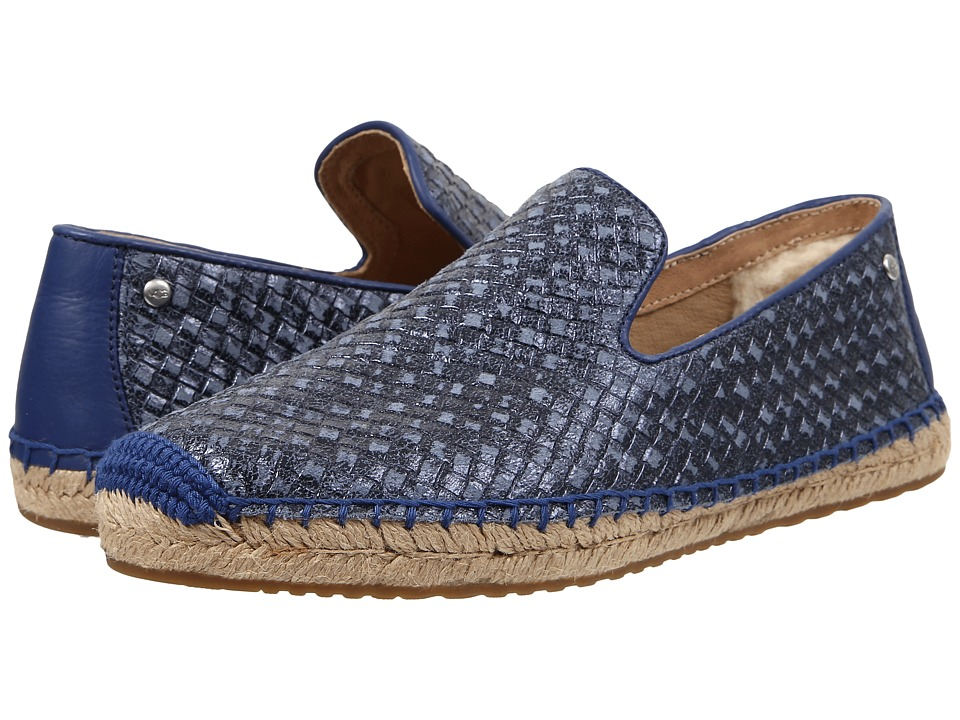 UGG Sandrinne Metallic Basket Racing Stripe Blue Leather Womens Slip on Shoes