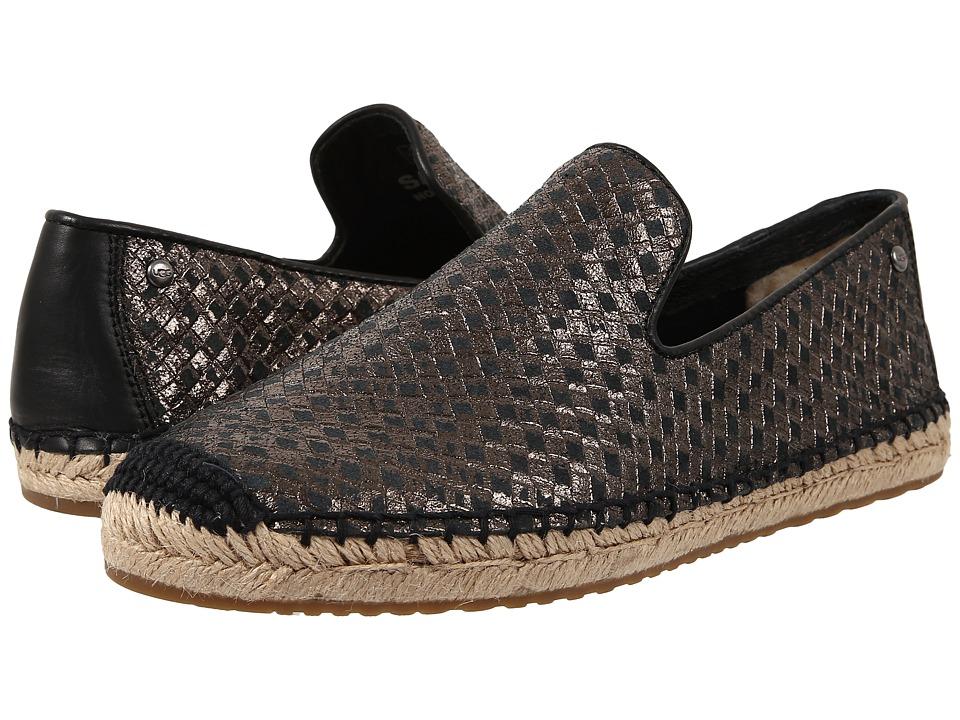 UGG Sandrinne Metallic Basket Black Leather Womens Slip on Shoes