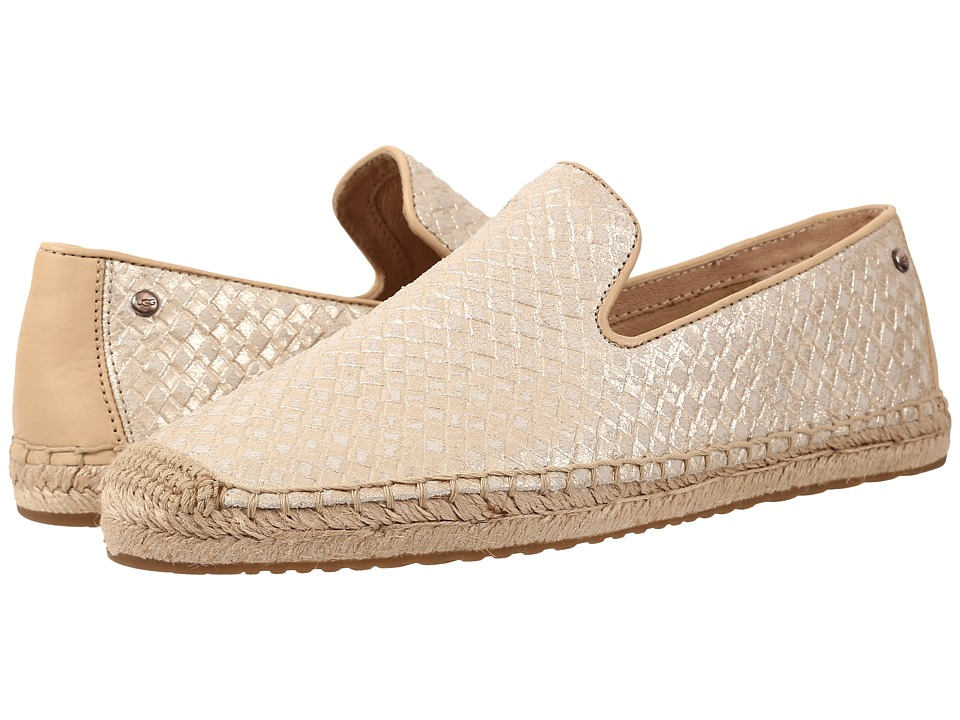 UGG Sandrinne Metallic Basket Soft Gold Leather Womens Slip on Shoes