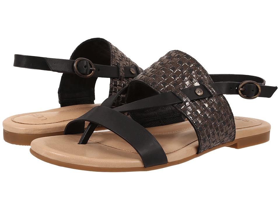 UGG Verona Metallic Basket Black Leather Womens Sling Back Shoes