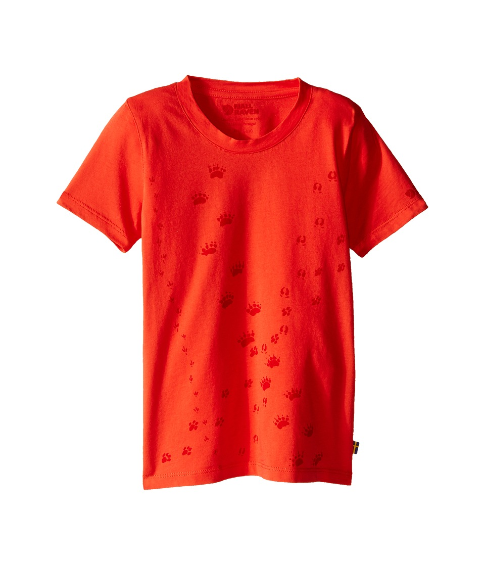 Fj llr ven Kids Kids Animal Tracks T Shirt Flame Orange Kids Short Sleeve Pullover