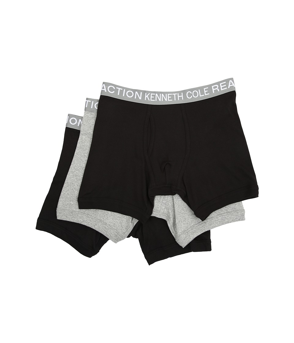 Kenneth Cole Reaction 3 Pack Boxer Brief Black/Grey/Black Mens Underwear