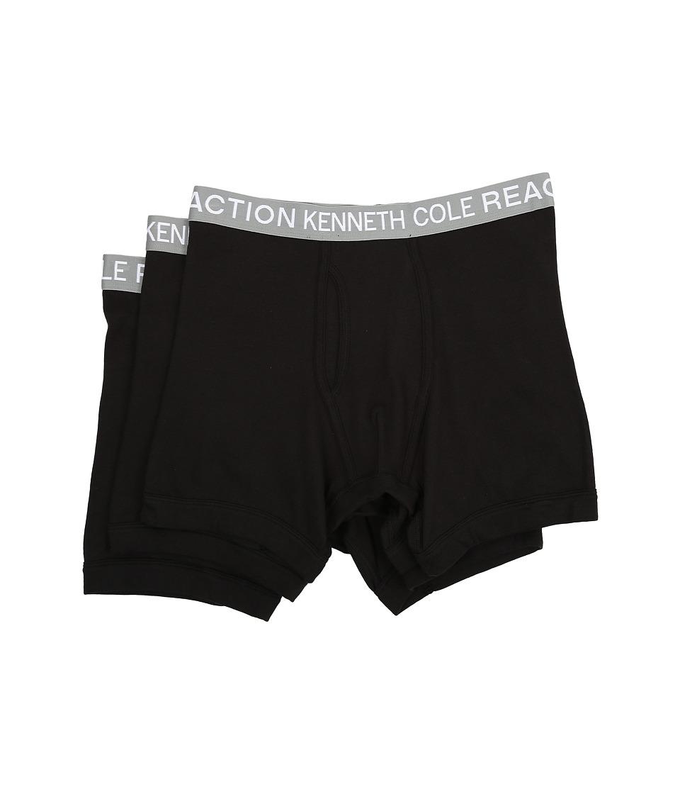 Kenneth Cole Reaction 3 Pack Boxer Brief Black/Black/Black Mens Underwear