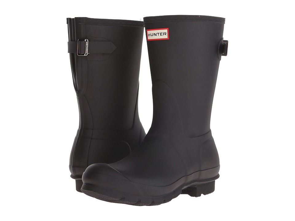 Hunter Original Short Back Adjustable Rain Boots (Black) Women