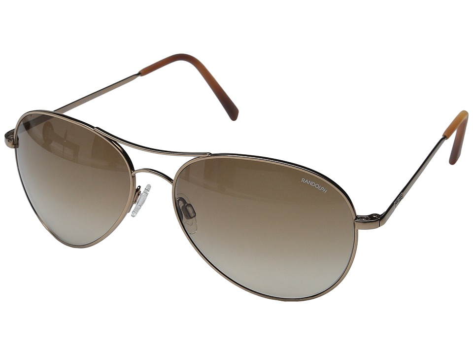 Randolph Amelia 61mm Chocolate Gold/Tan Gradient Nylon Lens Fashion Sunglasses