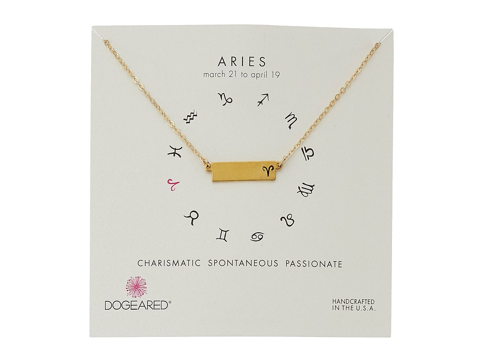 Dogeared Aries Zodiac Bar Necklace Gold Dipped Necklace