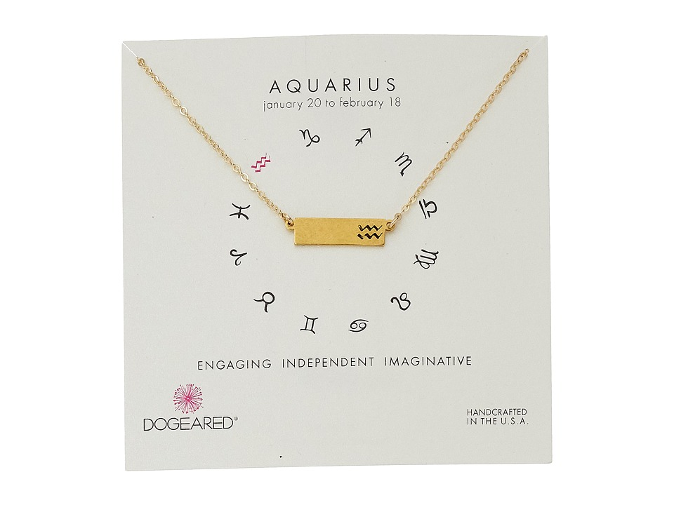 Dogeared Aquarius Zodiac Bar Necklace Gold Dipped Necklace