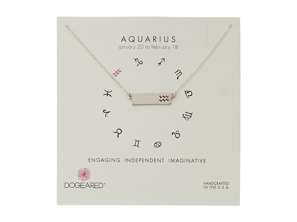 Dogeared Aquarius Zodiac Bar Necklace Sterling Silver Necklace