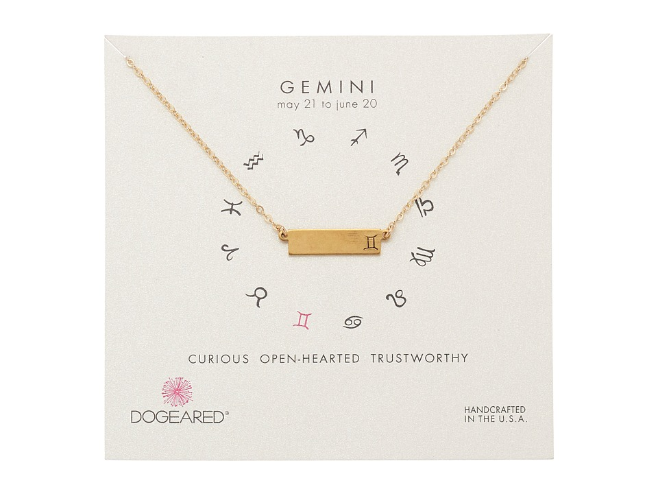 Dogeared Gemini Zodiac Bar Necklace Gold Dipped Necklace