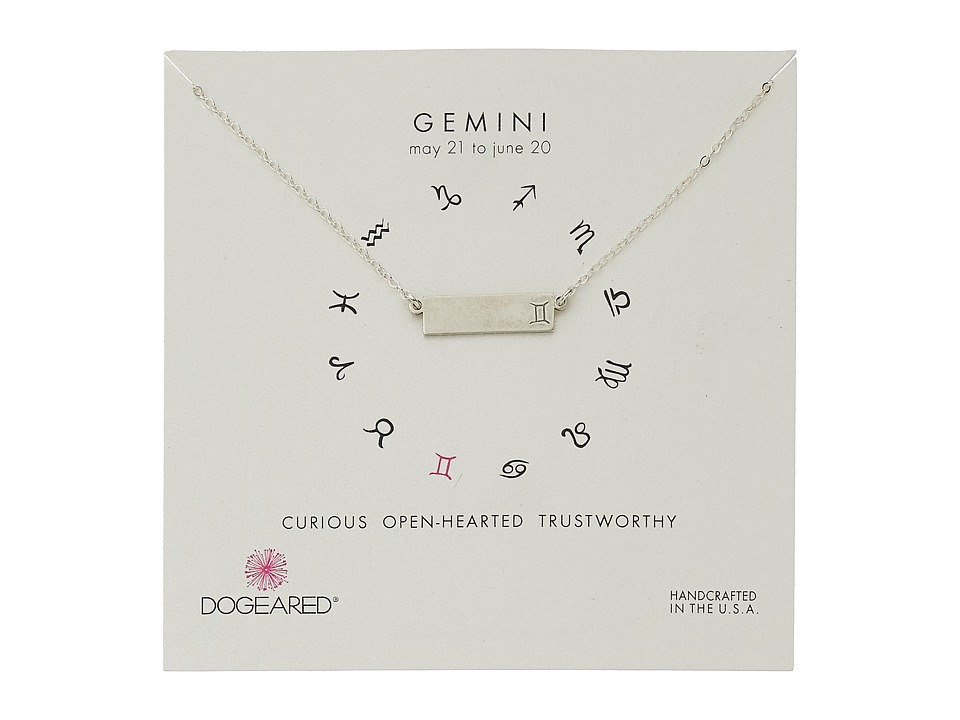 Dogeared Gemini Zodiac Bar Necklace Sterling Silver Necklace