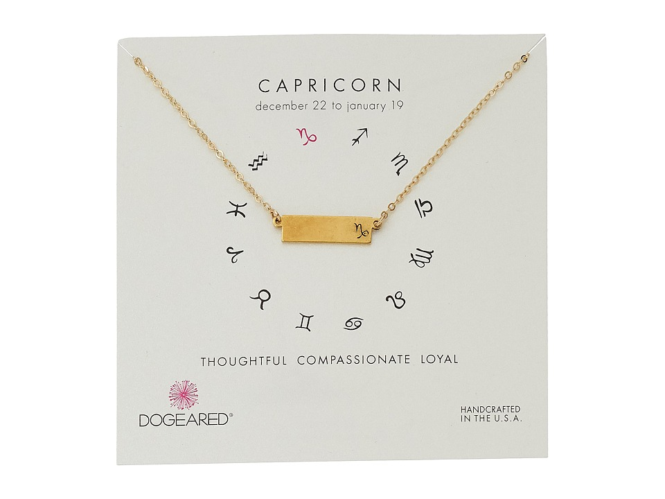 Dogeared Capricorn Zodiac Bar Necklace Gold Dipped Necklace