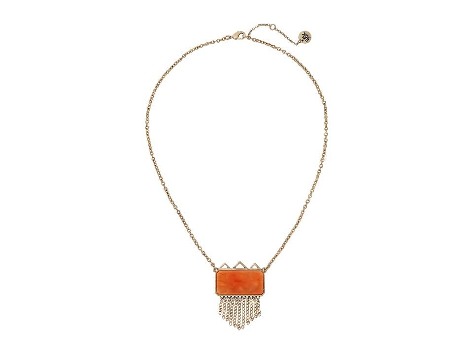 The Sak - Stone Fringe Pendant Necklace 18 (Coral) Necklace