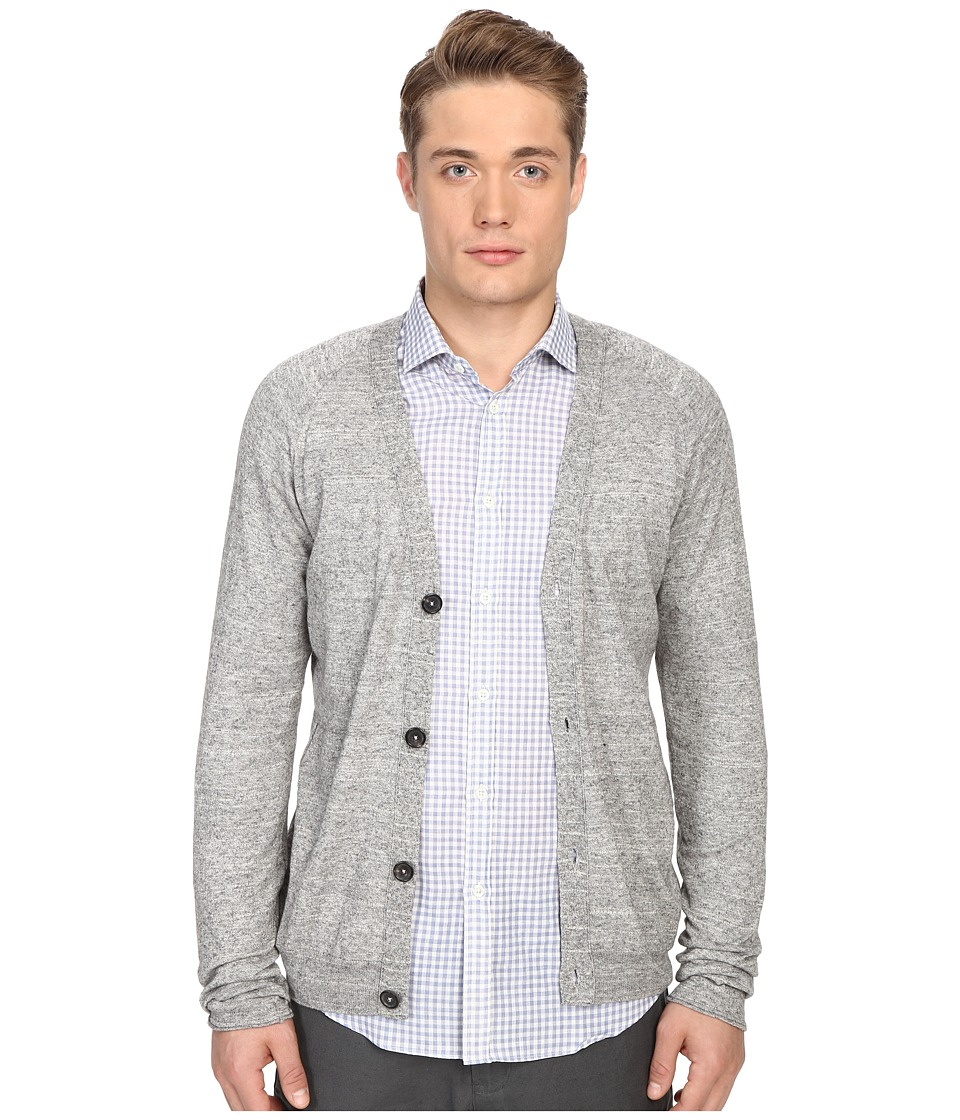 Billy Reid Jersey Roll Cardigan Grey Mens Sweater