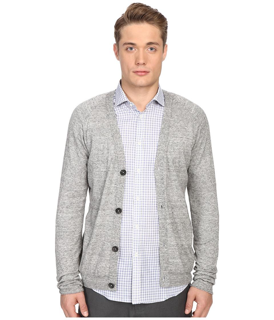 Billy Reid Jersey Roll Cardigan Grey Mens Sweater