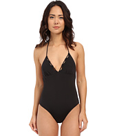 Shoshanna - Black Solid Scallop One-Piece