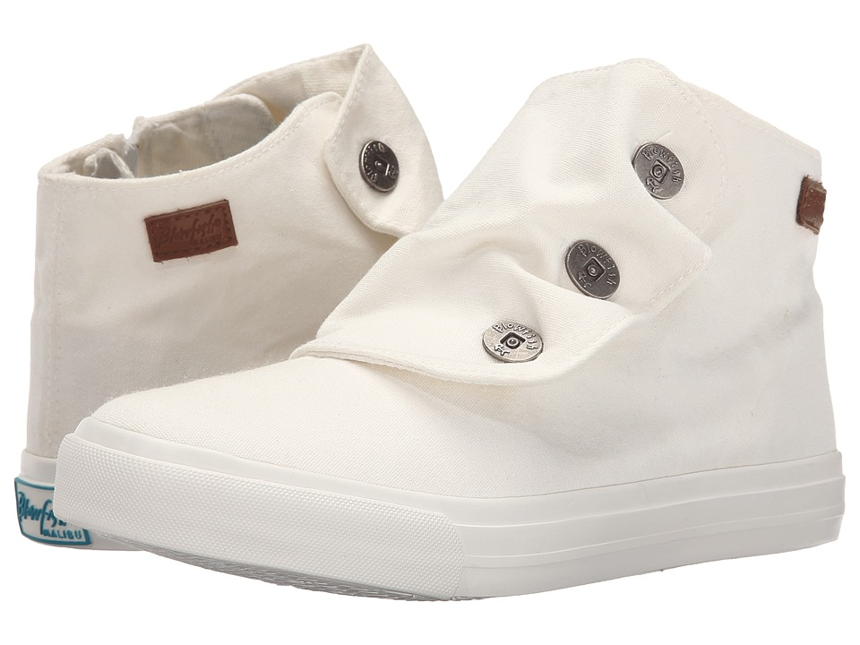 Blowfish Mabbit White Color Washed Canvas Womens Flat Shoes