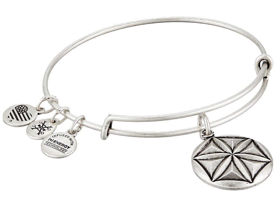 Alex and Ani Aphrodites Flower Charm Bangle Rafaelian Silver Bracelet