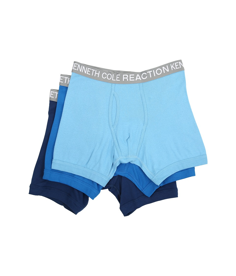 Kenneth Cole Reaction 3 Pack Boxer Brief Powder Blue/Cobalt/Grey Mens Underwear