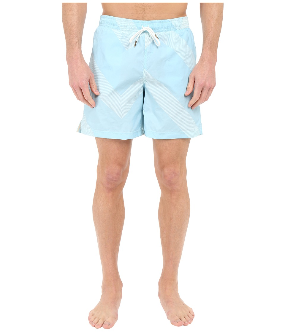 Billy Reid Bay Swimshorts Aqua/White Mens Swimwear
