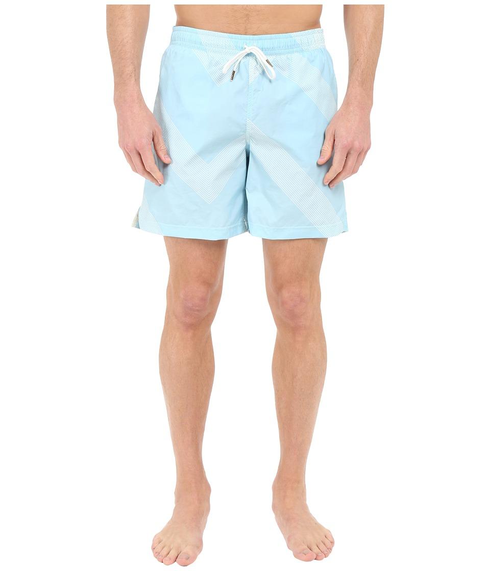 Billy Reid Bay Swimshorts Aqua/White Mens Swimwear