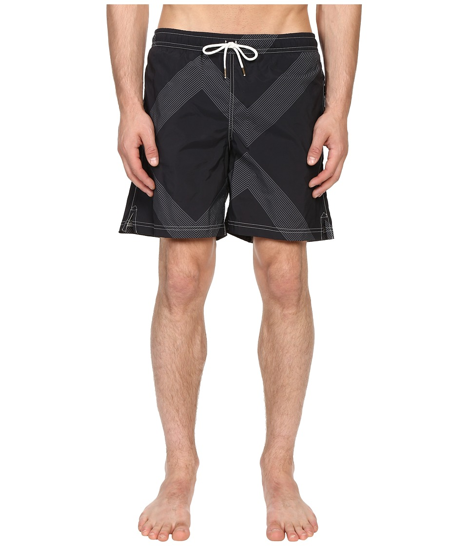 Billy Reid Bay Swimshorts Black/Grey Mens Swimwear