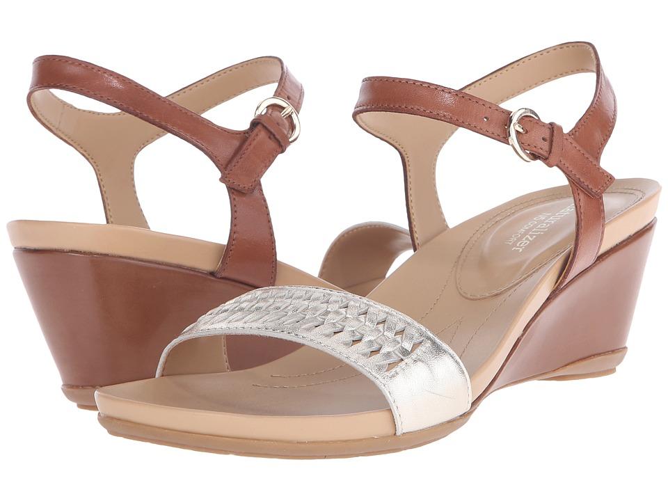 Naturalizer Swiftly Saddle Tan Leather/Platina Metallic Womens Sandals